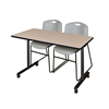 "42"" x 24"" Kobe Mobile Training Table- Beige & 2 Zeng Stack Chairs- Grey"