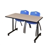 """42"""" x 24"""" Kobe Mobile Training Table- Beige & 2 'M' Stack Chairs- Blue"""