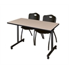 "42"" x 24"" Kobe Mobile Training Table- Beige & 2 'M' Stack Chairs- Black"