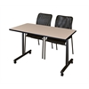 "42"" x 24"" Kobe Mobile Training Table- Beige & 2 Mario Stack Chairs- Black"
