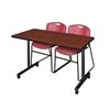"42"" x 24"" Kobe Mobile Training Table- Cherry & 2 Zeng Stack Chairs- Burgundy"