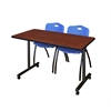 """42"""" x 24"""" Kobe Mobile Training Table- Cherry & 2 'M' Stack Chairs- Blue"""