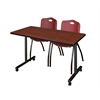 "42"" x 24"" Kobe Mobile Training Table- Cherry & 2 'M' Stack Chairs- Burgundy"