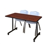 "42"" x 24"" Kobe Mobile Training Table- Cherry & 2 'M' Stack Chairs- Grey"