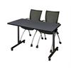 "42"" x 24"" Kobe Mobile Training Table- Grey & 2 Apprentice Chairs- Black"
