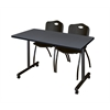 "42"" x 24"" Kobe Mobile Training Table- Grey & 2 'M' Stack Chairs- Black"