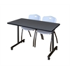 """42"""" x 24"""" Kobe Mobile Training Table- Grey & 2 'M' Stack Chairs- Grey"""