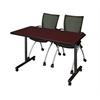 "42"" x 24"" Kobe Mobile Training Table- Mahogany & 2 Apprentice Chairs- Black"