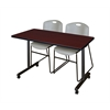 "42"" x 24"" Kobe Mobile Training Table- Mahogany & 2 Zeng Stack Chairs- Grey"