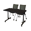 "42"" x 24"" Kobe Mobile Training Table- Mocha Walnut & 2 Apprentice Chairs- Black"