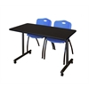 "42"" x 24"" Kobe Mobile Training Table- Mocha Walnut & 2 'M' Stack Chairs- Blue"