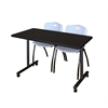 "42"" x 24"" Kobe Mobile Training Table- Mocha Walnut & 2 'M' Stack Chairs- Grey"