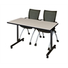 "42"" x 24"" Kobe Mobile Training Table- Maple & 2 Apprentice Chairs- Black"