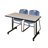 "42"" x 24"" Kobe Mobile Training Table- Maple & 2 Zeng Stack Chairs- Blue"