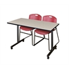 "42"" x 24"" Kobe Mobile Training Table- Maple & 2 Zeng Stack Chairs- Burgundy"