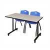 """42"""" x 24"""" Kobe Mobile Training Table- Maple & 2 'M' Stack Chairs- Blue"""