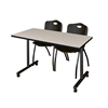 "42"" x 24"" Kobe Mobile Training Table- Maple & 2 'M' Stack Chairs- Black"