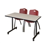 "42"" x 24"" Kobe Mobile Training Table- Maple & 2 'M' Stack Chairs- Burgundy"