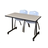 "42"" x 24"" Kobe Mobile Training Table- Maple & 2 'M' Stack Chairs- Grey"