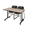 "48"" x 24"" Kobe Mobile Training Table- Beige & 2 Zeng Stack Chairs- Black"
