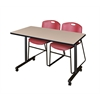 "48"" x 24"" Kobe Mobile Training Table- Beige & 2 Zeng Stack Chairs- Burgundy"