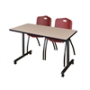 """48"""" x 24"""" Kobe Mobile Training Table- Beige & 2 'M' Stack Chairs- Burgundy"""
