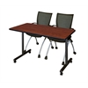 "48"" x 24"" Kobe Mobile Training Table- Cherry & 2 Apprentice Chairs- Black"
