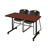 """48"""" x 24"""" Kobe Mobile Training Table- Cherry & 2 Zeng Stack Chairs- Black"""