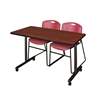 "48"" x 24"" Kobe Mobile Training Table- Cherry & 2 Zeng Stack Chairs- Burgundy"