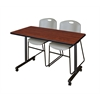 "48"" x 24"" Kobe Mobile Training Table- Cherry & 2 Zeng Stack Chairs- Grey"