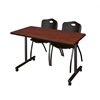 "48"" x 24"" Kobe Mobile Training Table- Cherry & 2 'M' Stack Chairs- Black"