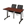 "48"" x 24"" Kobe Mobile Training Table- Cherry & 2 Mario Stack Chairs- Black"