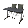 "48"" x 24"" Kobe Mobile Training Table- Grey & 2 Apprentice Chairs- Black"
