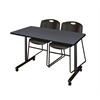 """48"""" x 24"""" Kobe Mobile Training Table- Grey & 2 Zeng Stack Chairs- Black"""