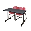 "48"" x 24"" Kobe Mobile Training Table- Grey & 2 Zeng Stack Chairs- Burgundy"