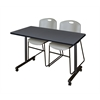 """48"""" x 24"""" Kobe Mobile Training Table- Grey & 2 Zeng Stack Chairs- Grey"""