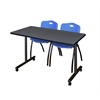 "48"" x 24"" Kobe Mobile Training Table- Grey & 2 'M' Stack Chairs- Blue"