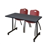 "48"" x 24"" Kobe Mobile Training Table- Grey & 2 'M' Stack Chairs- Burgundy"
