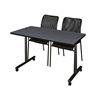 "48"" x 24"" Kobe Mobile Training Table- Grey & 2 Mario Stack Chairs- Black"
