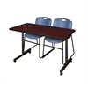 """48"""" x 24"""" Kobe Mobile Training Table- Mahogany & 2 Zeng Stack Chairs- Blue"""