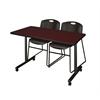 "48"" x 24"" Kobe Mobile Training Table- Mahogany & 2 Zeng Stack Chairs- Black"