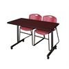 "48"" x 24"" Kobe Mobile Training Table- Mahogany & 2 Zeng Stack Chairs- Burgundy"