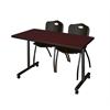 "48"" x 24"" Kobe Mobile Training Table- Mahogany & 2 'M' Stack Chairs- Black"