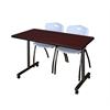 "48"" x 24"" Kobe Mobile Training Table- Mahogany & 2 'M' Stack Chairs- Grey"