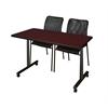 "48"" x 24"" Kobe Mobile Training Table- Mahogany & 2 Mario Stack Chairs- Black"