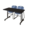 "48"" x 24"" Kobe Mobile Training Table- Mocha Walnut & 2 Zeng Stack Chairs- Blue"