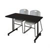 "48"" x 24"" Kobe Mobile Training Table- Mocha Walnut & 2 Zeng Stack Chairs- Grey"