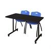 "48"" x 24"" Kobe Mobile Training Table- Mocha Walnut & 2 'M' Stack Chairs- Blue"