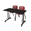"48"" x 24"" Kobe Mobile Training Table- Mocha Walnut & 2 'M' Stack Chairs- Burgundy"
