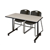 """48"""" x 24"""" Kobe Mobile Training Table- Maple & 2 Zeng Stack Chairs- Black"""